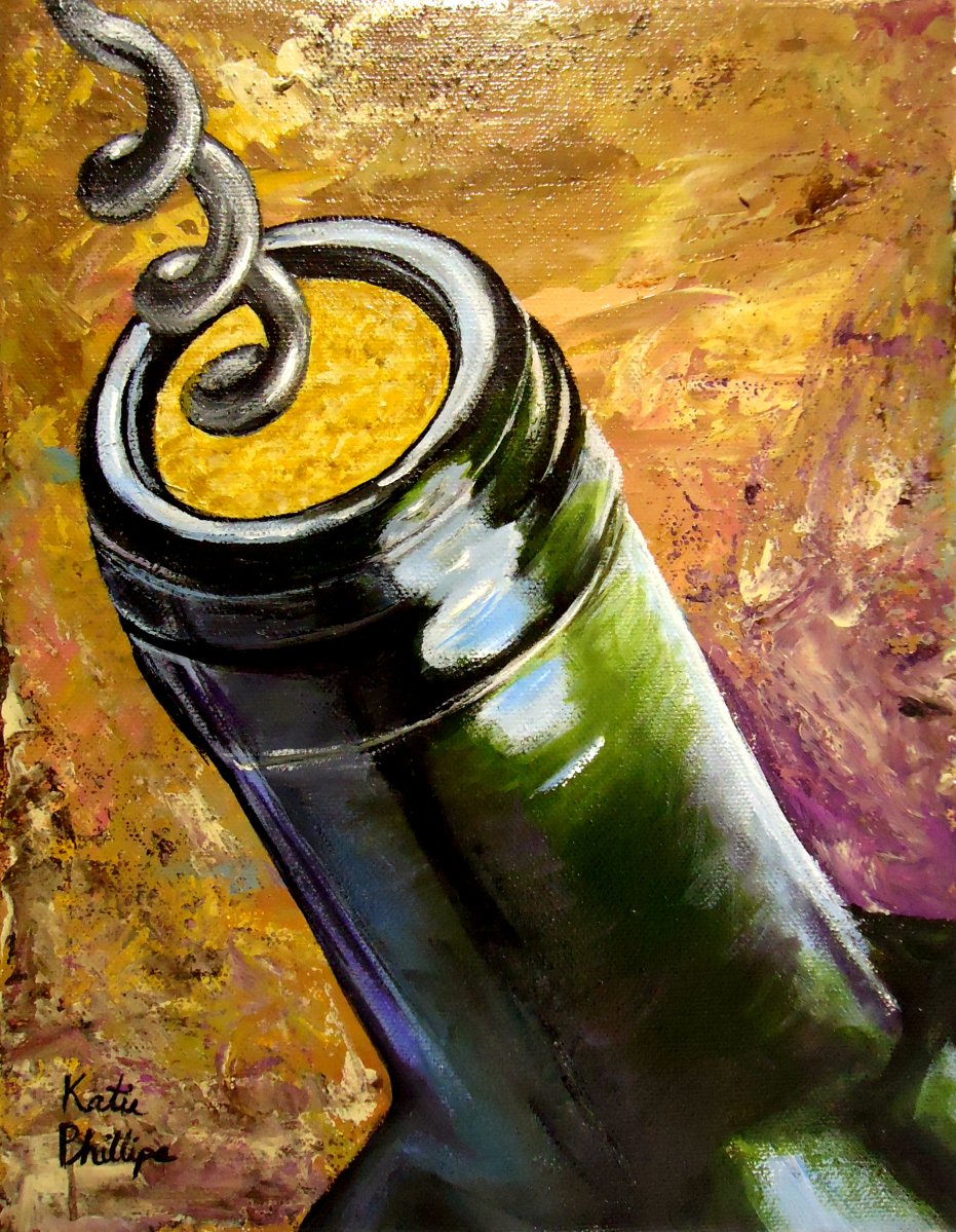 """Wine painting """"Uncorked"""""""