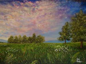 Field at sunset - landscape painting