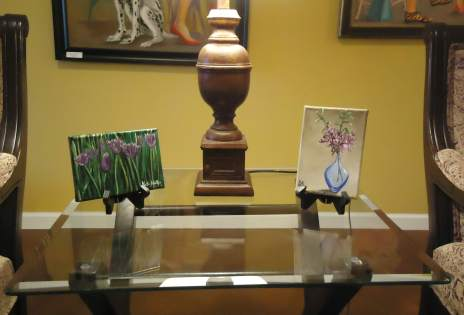 "Two of my table top paintings ""Chives in Bloom"" (left) and ""Purple Orchids"" (right)"