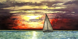 "Sailboat painting ""Sunset Sail"""