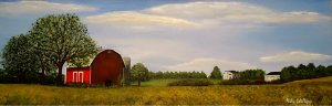 Red barn countryside painting