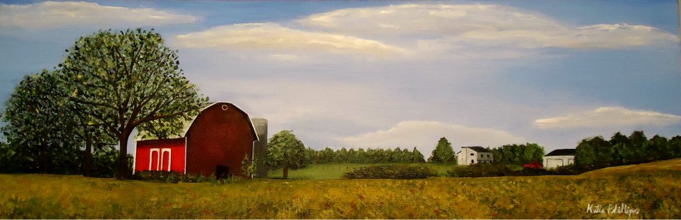 Red barn countryside painting by Atlanta Area Artist Katie Phillips