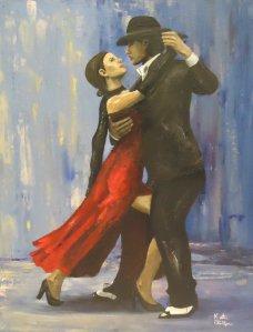 Tango dancing figure painting