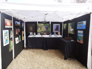 Art fair tent display using low cost materials