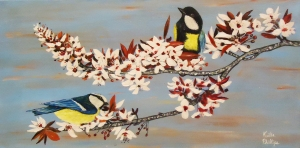 painting, birds, flowers, trees, art aution