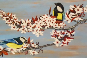Acrylic art painting of birds, flowers, trees,