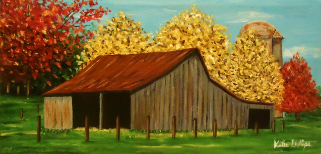 old gray barn painting