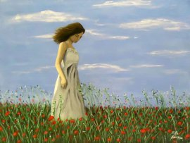 Girl Among Poppies Figure Painting