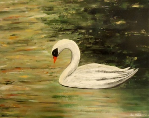 White swan painting Into the Light