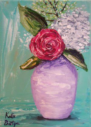 Pink peony white hydrangea painting
