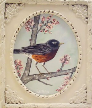 robin painting in vintage frame