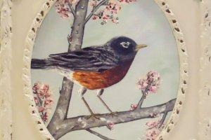 robin painting in vintage frame