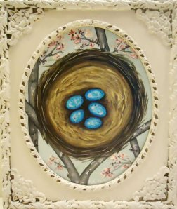Robin's nest painting in vintage frame