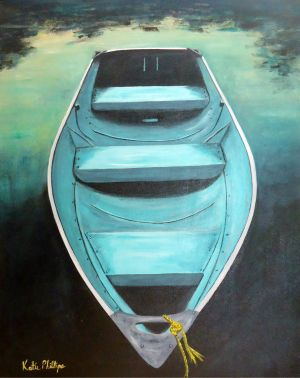 Blue Boat Acrylic Painting