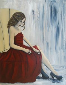 Girl in red dress painting waiting