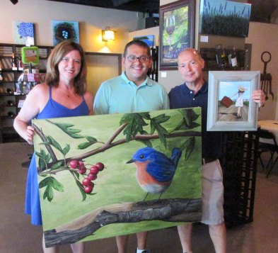 "These collectors bought several of my paintings, including my signature piece ""Bluebird and His Berries""."