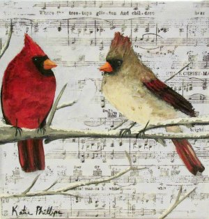 Christmas Cardinal Couple 8x8