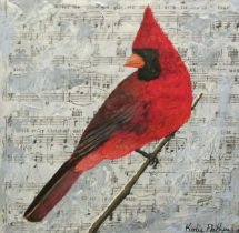 christmas, cardinal, painting, mixed media