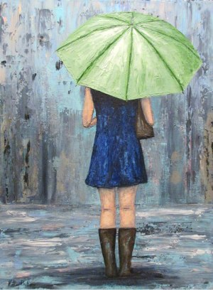 """Rainy Day Blues""; 18 x 24 acrylic on canvas - $225.00"